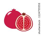 healthy organic red pomegranate ...   Shutterstock .eps vector #1124755553