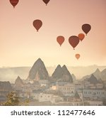Balloons in Cappadocia,Turkey - stock photo