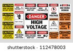 Danger High Voltage signs - stock vector
