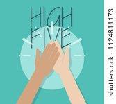 high five illustration. two...   Shutterstock .eps vector #1124811173