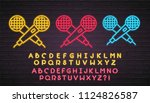microphone icon set neon light... | Shutterstock .eps vector #1124826587