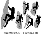 Vector collection of silhouettes of climbers - stock vector