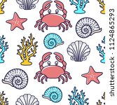 vector seamless pattern with... | Shutterstock .eps vector #1124865293
