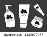 vector charcoal skin care  ... | Shutterstock .eps vector #1124877497