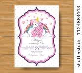 unicorn birthday invitation | Shutterstock .eps vector #1124883443