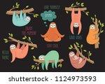 set of cute hand drawn sloths... | Shutterstock .eps vector #1124973593