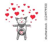 Stock vector cat in love valentine kitten with heart 1124979533