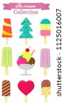 set of nine different sweet ice ... | Shutterstock . vector #1125016007