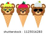 a set of three brown bears in... | Shutterstock . vector #1125016283