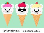 a set of three cute polar bears ... | Shutterstock . vector #1125016313