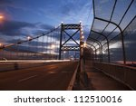Anthony Wayne Bridge in Toledo, Ohio. Seen at sunset. - stock photo