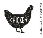 chicken silhouette. chicken... | Shutterstock .eps vector #1125103733