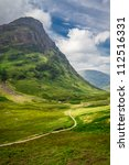 Footpath in Scotland highlands - stock photo