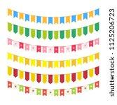 vector flag garlands for... | Shutterstock .eps vector #1125206723