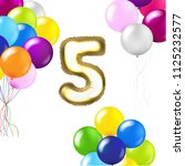 birthday 5 years card with... | Shutterstock .eps vector #1125232577