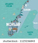 illustration map of norway with ... | Shutterstock .eps vector #1125236843