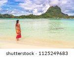 tahiti luxury travel beach... | Shutterstock . vector #1125249683