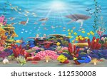 A vibrant underwater coral scene showing Fish, underwater mammals, and bright coral . - stock photo