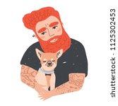 portrait of cute redhead... | Shutterstock .eps vector #1125302453