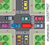 crossroad top view. road... | Shutterstock .eps vector #1125377927