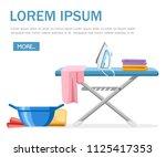 laundry room concept. blue...   Shutterstock .eps vector #1125417353