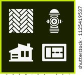 set of 4 buildings filled icons ... | Shutterstock .eps vector #1125419537