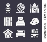 set of 9 buildings filled icons ... | Shutterstock .eps vector #1125473483