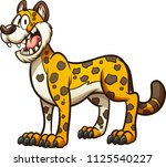 happy cartoon cheetah  jaguar... | Shutterstock .eps vector #1125540227