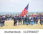 Small photo of CEDAR CREEK, VA - AUGUST 4: Cavalry soldiers reenacting the 150th anniversary of civil war Battle of 2nd Manassas on August 4, 2012 at Cedar Creek Battlefield, Virginia.