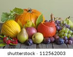 Vegetables And Fruits In Autum...