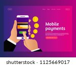 concept mobile payments. money... | Shutterstock .eps vector #1125669017