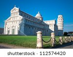 Pisa Cathedral and  Leaning Tower of Pisa - stock photo