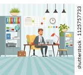 workspace of busy businessman.... | Shutterstock .eps vector #1125757733