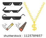 funny pixelated boss sunglasses.... | Shutterstock .eps vector #1125789857