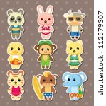 cartoon summer animal stickers | Shutterstock .eps vector #112579307