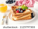 french toast with fresh...   Shutterstock . vector #1125797303