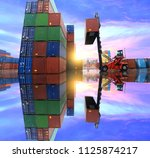 cargo operation in the... | Shutterstock . vector #1125874217
