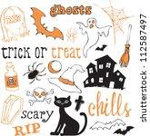 halloween icons sketch vector | Shutterstock .eps vector #112587497
