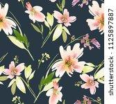 seamless watercolor floral... | Shutterstock . vector #1125897887