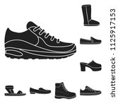 a variety of shoes black icons... | Shutterstock .eps vector #1125917153