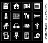 set of 16 icons such as real...