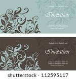 Set Of Floral Invitation Cards.