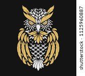 abstract hand drawn owl in... | Shutterstock .eps vector #1125960887