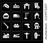 set of 16 icons such as print ...