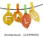 Colorful Fall Leaves Hanged On...