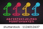 microphone icon set neon light... | Shutterstock .eps vector #1126012637