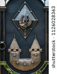wrought iron gates  ornamental... | Shutterstock . vector #1126028363