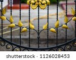 wrought iron gates  ornamental... | Shutterstock . vector #1126028453