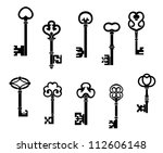 Old and vintage keys set with secret silhouettes, such a logo. Jpeg version also available in gallery - stock vector