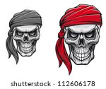Danger pirate skull in bandane for tattoo or t-shirt design, such a logo. Jpeg version also available in gallery - stock vector